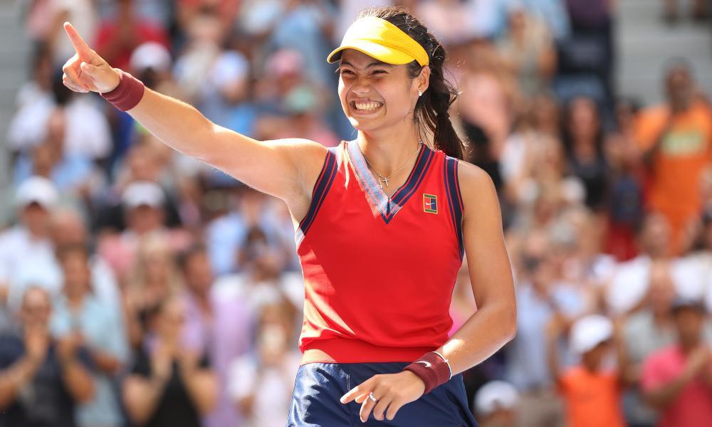 Emma Raducanu celebrates after defeating Belinda Bencic in the US Open quarter-finals.