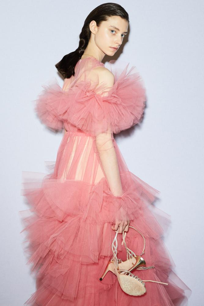 Pink tulle dress at Giambattista Valli