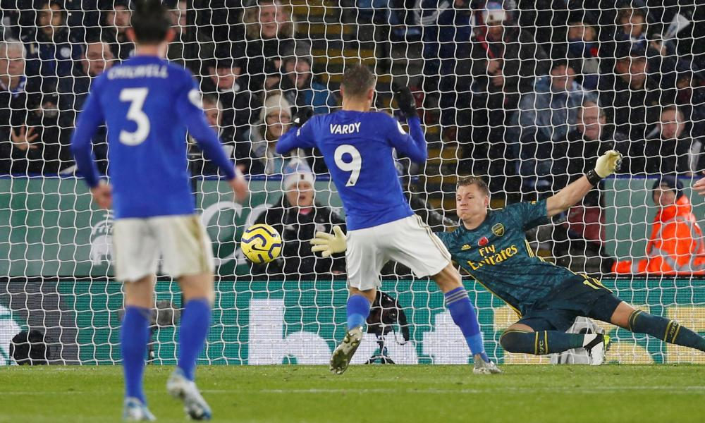 Leicester City's Jamie Vardy scores their first goal.