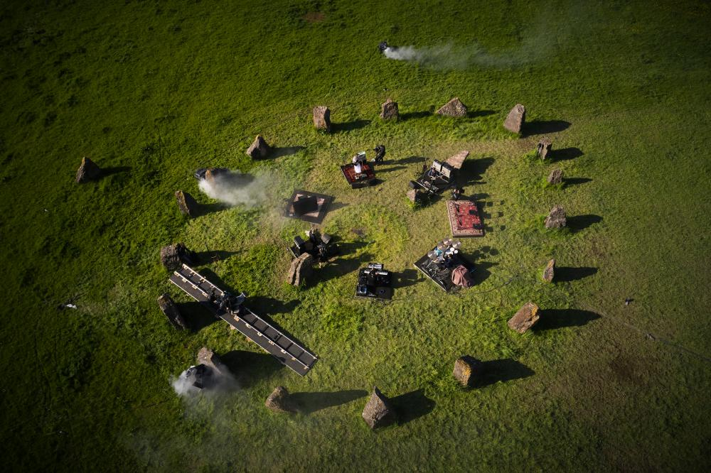 A drone's eye view of Wolf Alice playing at the Stone Circle