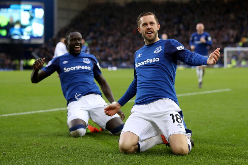 Gylfi Sigurdsson leads Everton celebrations.