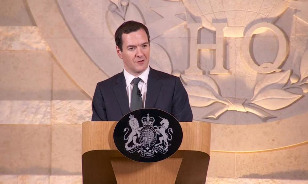 George Osborne speaking at GCHQ