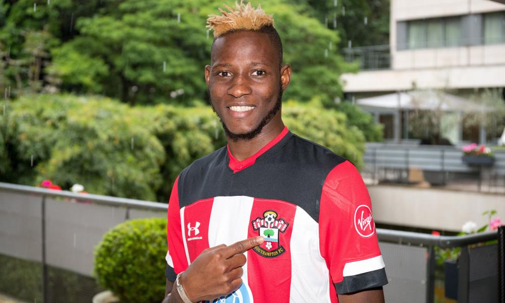 Moussa Djenepo of Southampton poses for a photo during his unveiling.