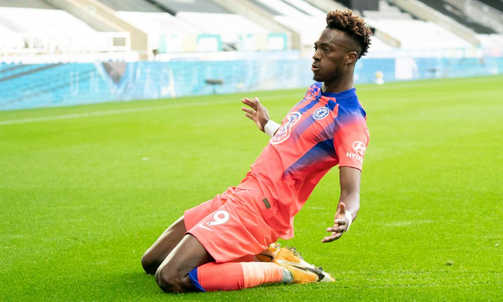 Chelsea's Tammy Abraham celebrates after scoring their second goal.
