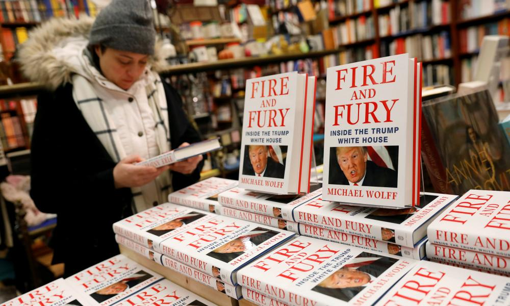 Copies of Fire and Fury: Inside the Trump White House are seen at the Book Culture book store in New York.