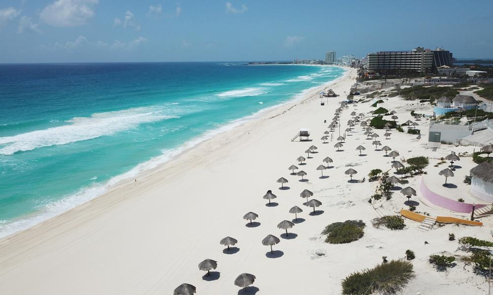 An aerial view of the beach at Punta Cancun on 21 April, 2020 in Cancun, Mexico. The municipality of Cancun celebrates its 50th Anniversary with empty beaches due to the Coronavirus pandemic.