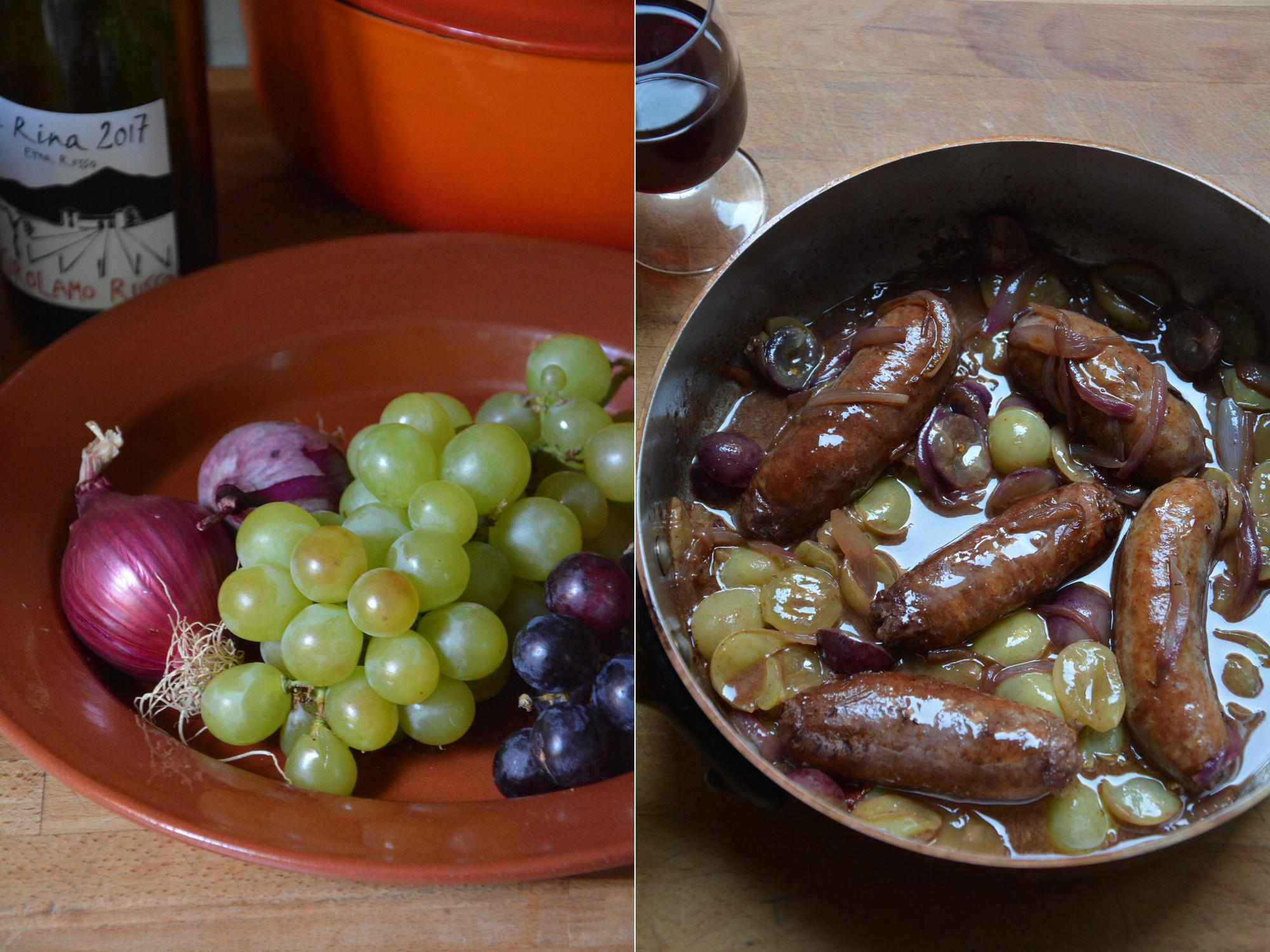 Rachel Roddy's recipe for sausages with red onion and grapes