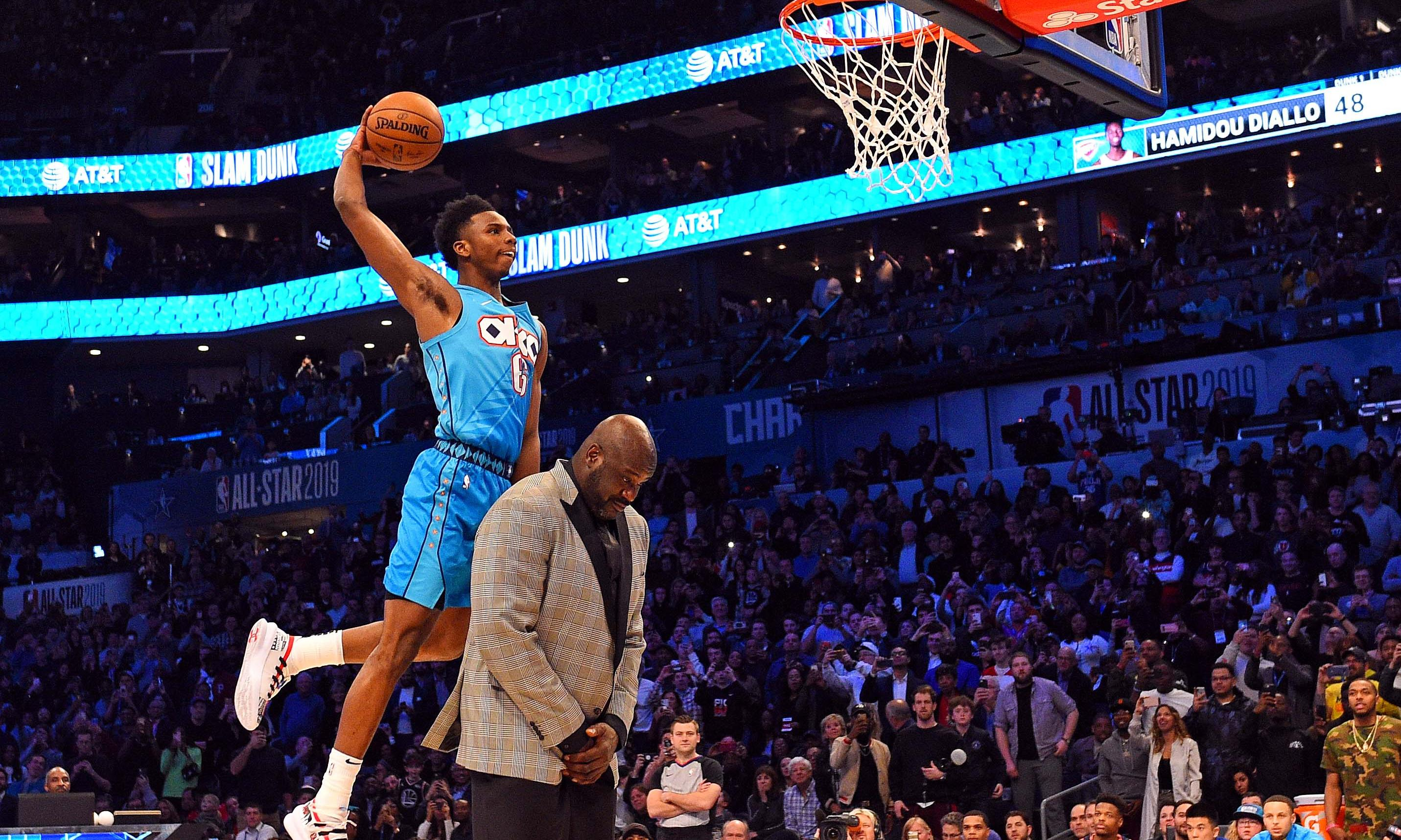 Diallo leaps over Shaq to win NBA slam-dunk contest as Harris shocks Steph Curry