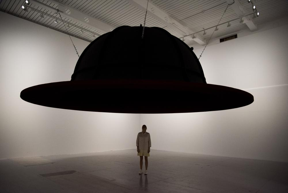 At the edge of the world II by Anish Kapoor at the Lisson Gallery's Everything at Once exhibition, in Store Studios, London