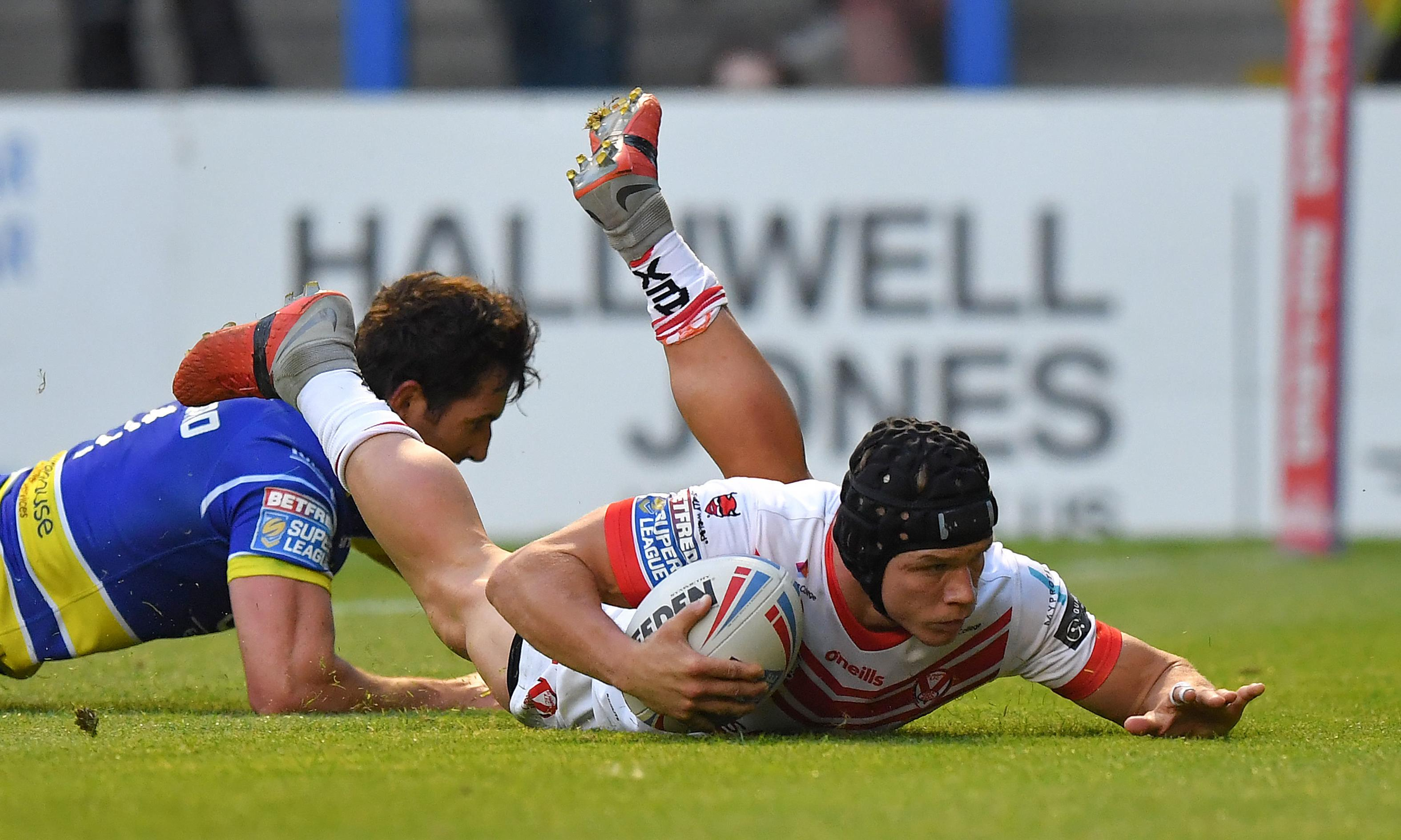 Saints' Jack Welsby and Matty Costello combine to finish off Warrington