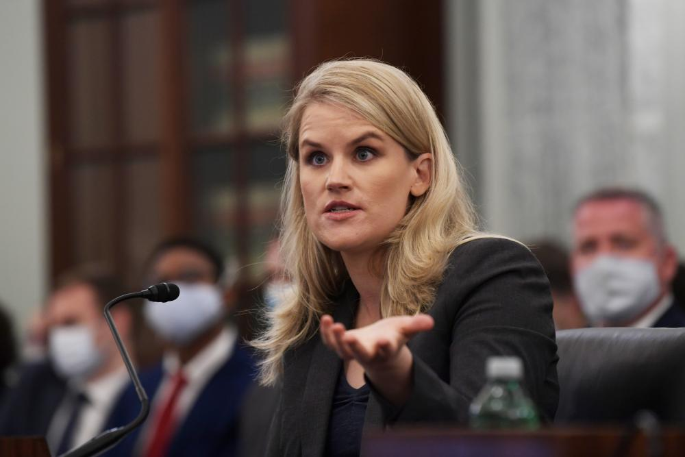 Frances Haugen testifies about Facebook before a US Senate committee on 5 October