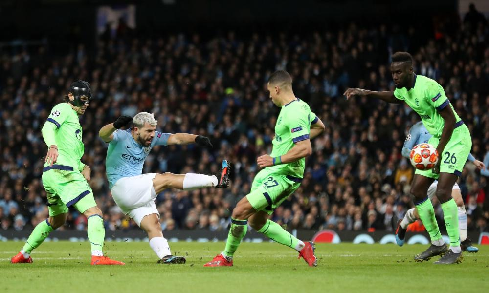 Manchester City's Sergio Aguero shoots at goal.