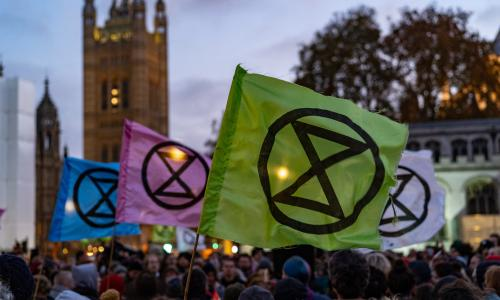 A photo of Extinction Rebellion protestors massing in parliament square at the conclusion of recent marches against environmental destruction. The wind caught the group of flags perfectly to frame them against the backdrop of the Houses of Parliament.