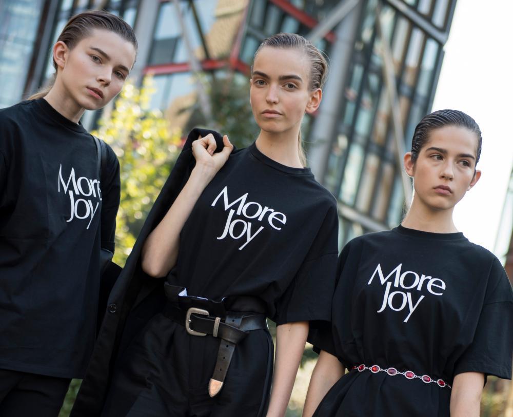 More Joy slogan T-shirts by Christopher Kane.