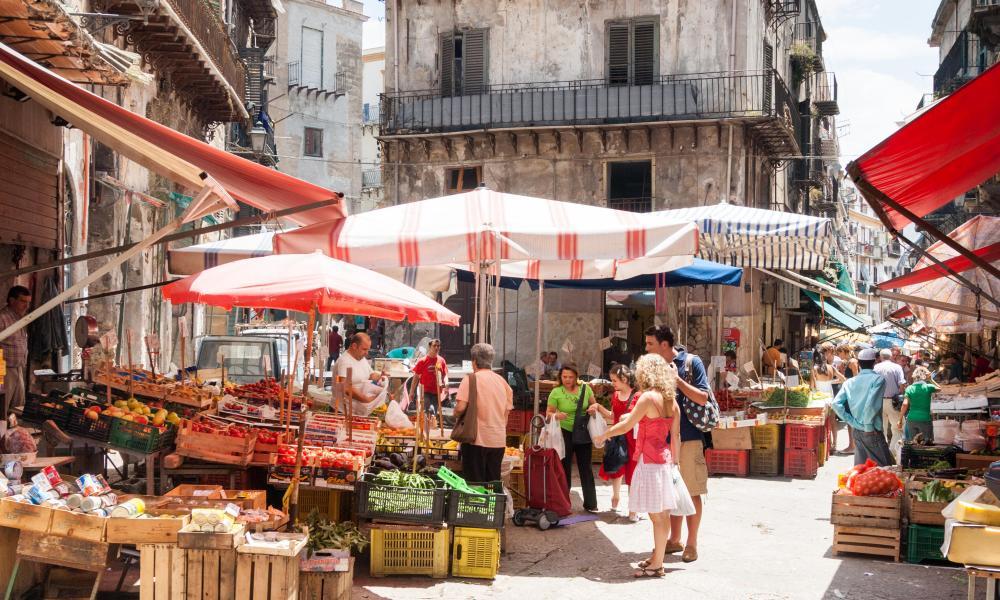 Stalls in Capo market.