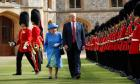 U.S. President Donald Trump and Britain's Queen Elizabeth inspects the Guard of Honour at Windsor Castle (AP Photo/Pablo Martinez Monsivais)