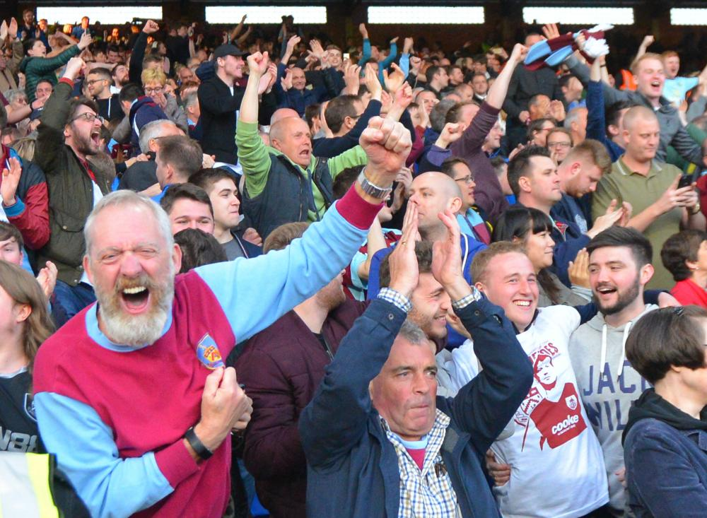 Burnley fans celebrate their 2-0 victory over Crystal Palace at Selhurst Park in April 2017.