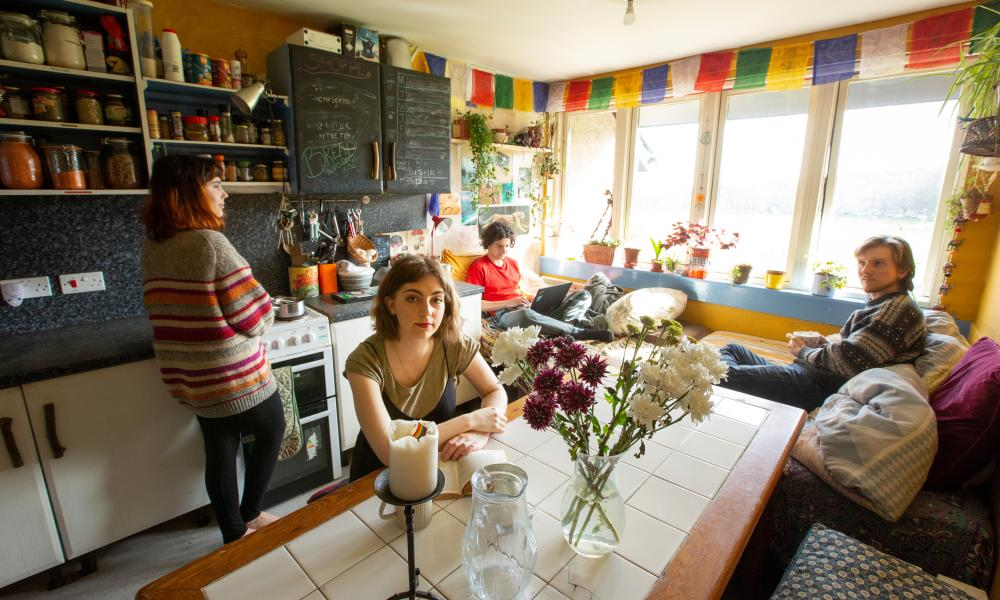 Students in a flat run by Edinburgh Student Housing Co-op. 34 Wright's Houses is like a hall of residence but run by students.