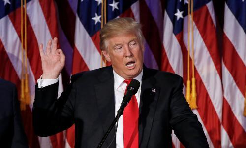U.S. President-elect Donald Trump speaks at election night rally in Manhattan, New York, U.S., November 9, 2016.  REUTERS/Mike Segar/File Photo