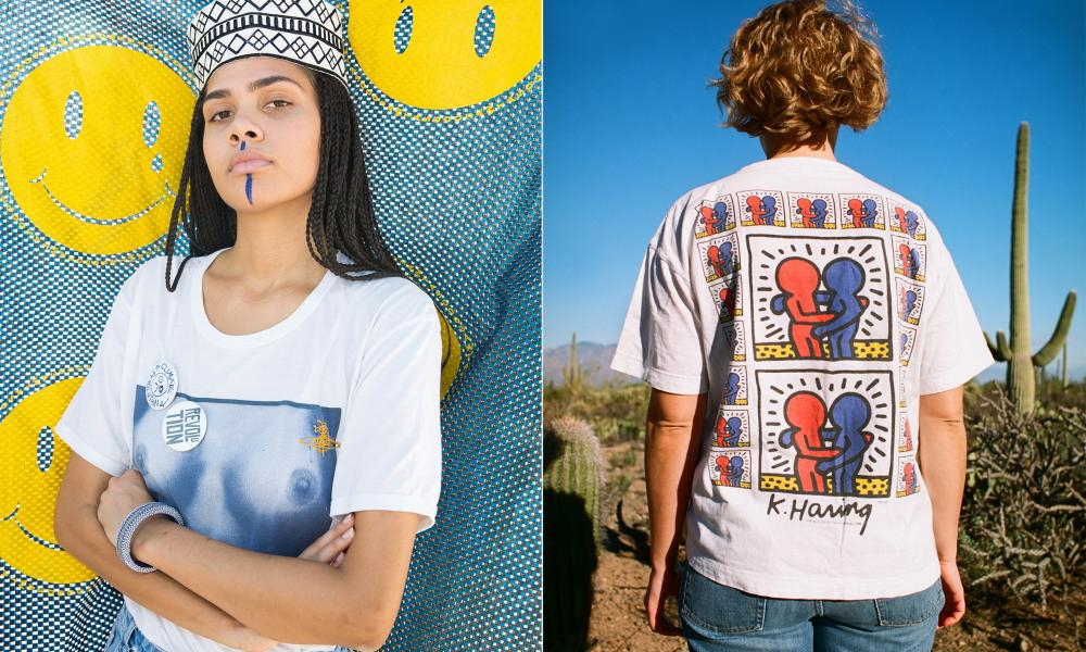 A Vivienne Westwood/Malcolm McLaren 'tits' T-shirt, and Keith Haring's Act Against Aids '93 design.