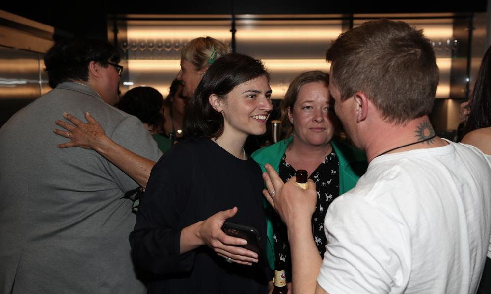Green Party Candidate for Auckland Chloe Swarbrick meets supporters during the Greens Party Election Function in Auckland, New Zealand