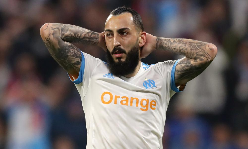 Marseille's Konstantinos Mitroglou reacts after hitting the post with a header