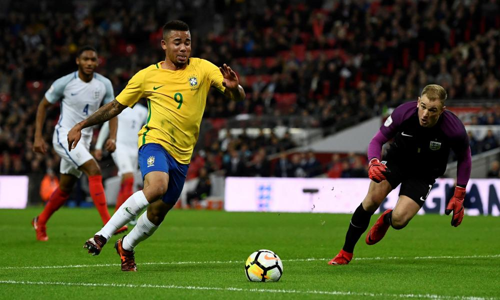 Gabriel Jesus takes the ball past Joe Hart.