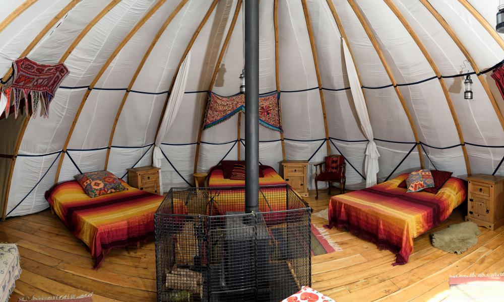 Inside the alachigh at Larkhill Tipis and Yurts