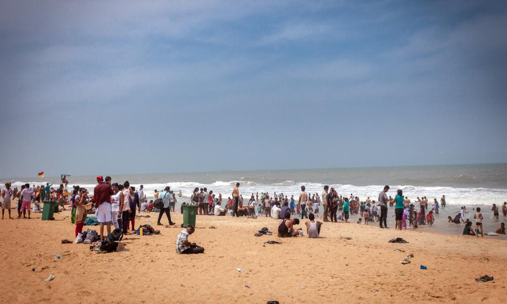 The crowded beach at Calangute