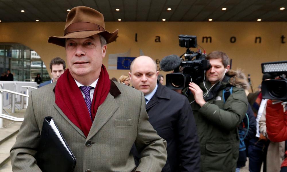 Nigel Farage outside the European commission headquarters in Brussels.
