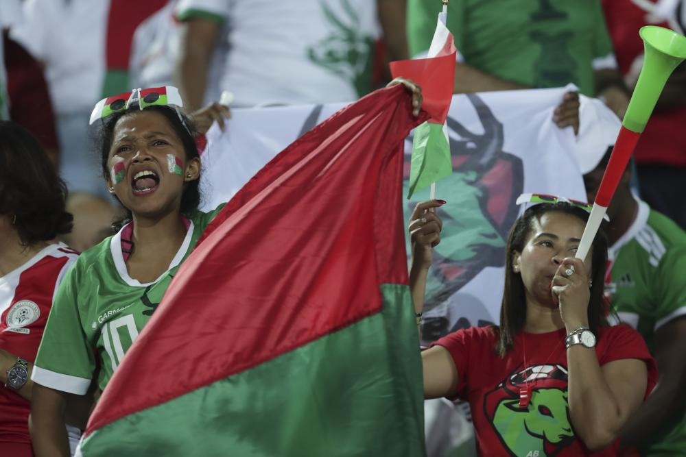 Madagascar fans cheer their team on in Cairo.