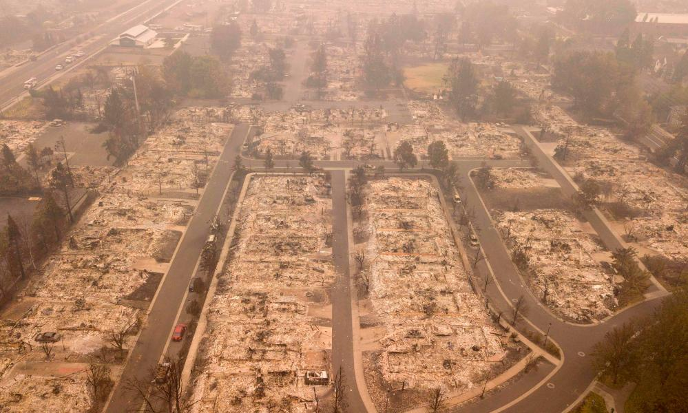 An aerial view shows properties destroyed by the Almeda Fire in Talent, Oregon, September 15, 2020.