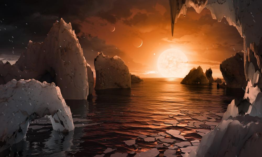 Any life that gained a foothold and the capacity to look up would have a remarkable view from a Trappist-1 world. From the fifth planet, considered the most habitable, the salmon-pink star would loom 10 times larger than the sun in our sky.