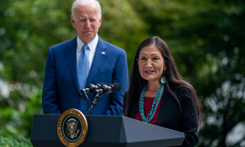 Deb Haaland speaks at the White House last Friday.
