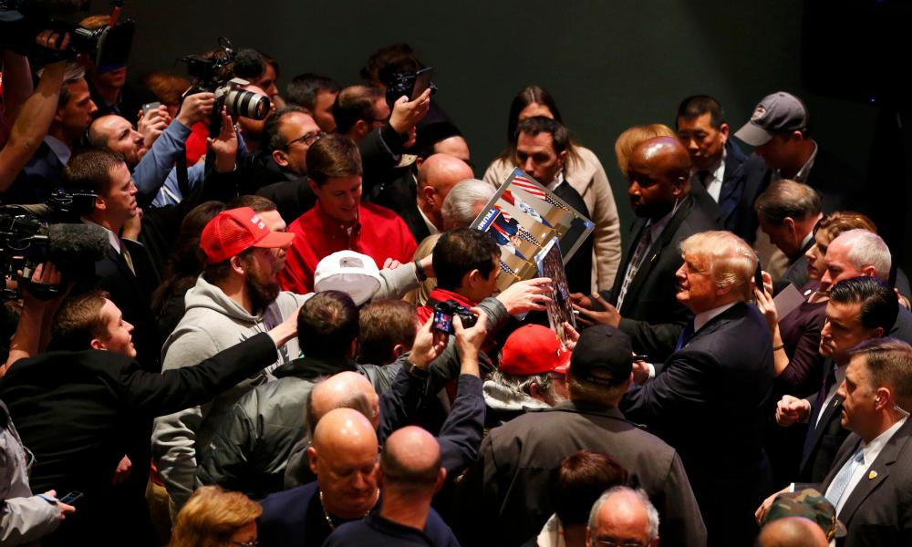 Donald Trump at a veteran's rally in Des Moines, Iowa in January 2016.