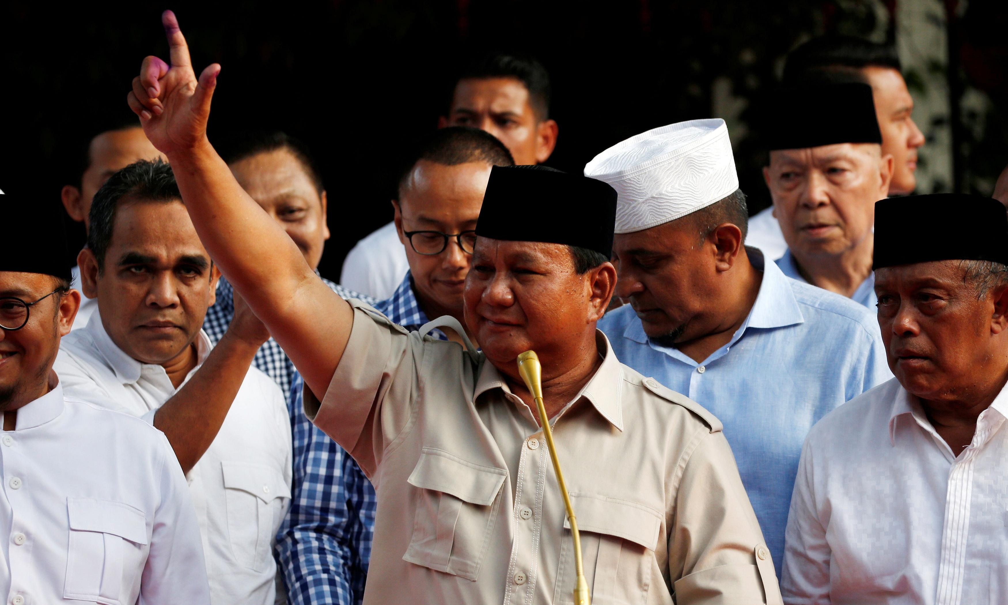 Indonesia election: Prabowo claims victory despite early counts showing loss