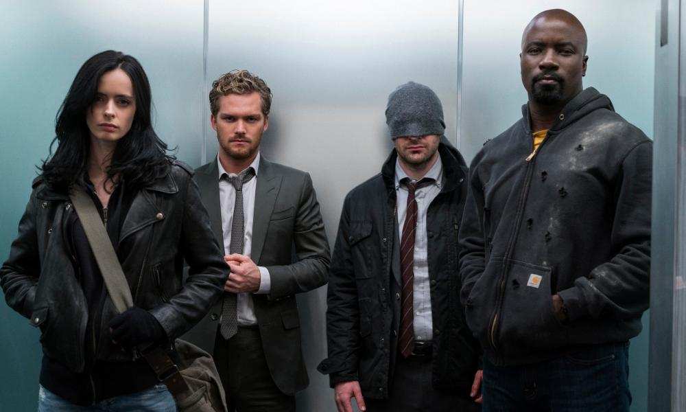 Krysten Ritter, Finn Jones, Charlie Cox and Mike Colter in The Defenders