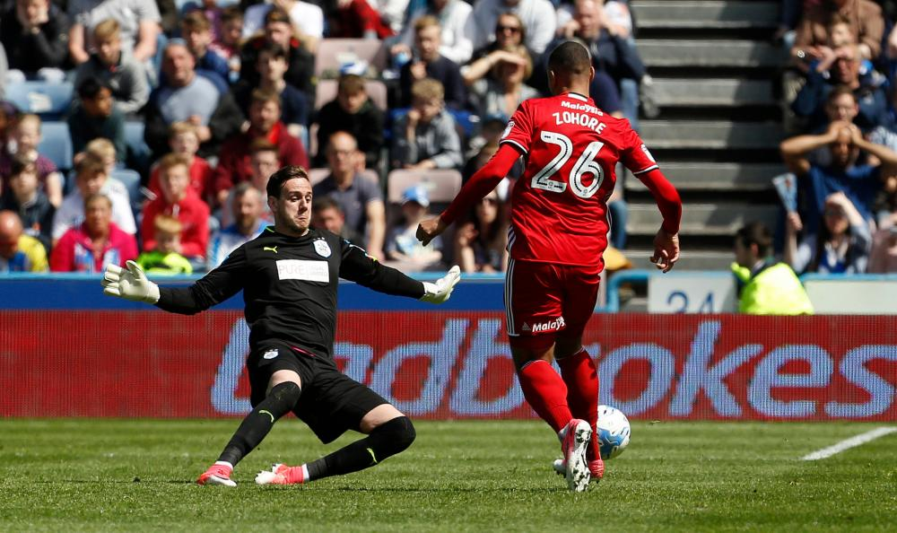 Danny Ward receives a straight red after appearing to handle outside the box.