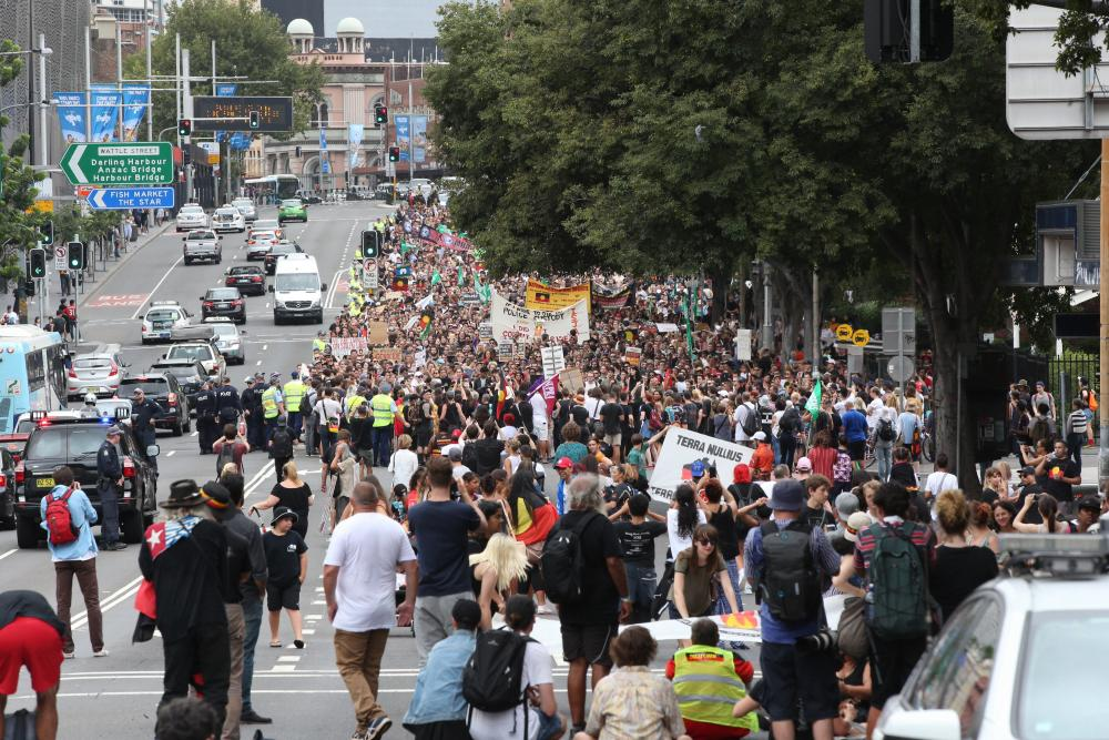 Image of the Sydney Invasion Day march.