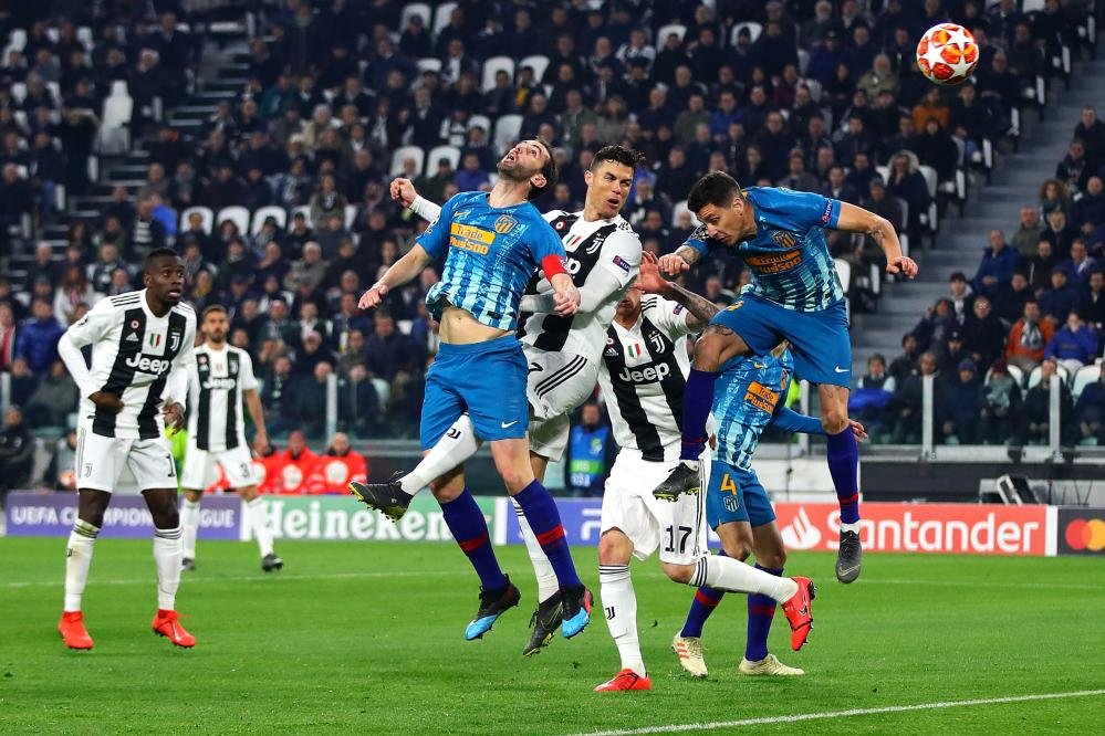 Ronaldo of Juventus scores his side's second goal.