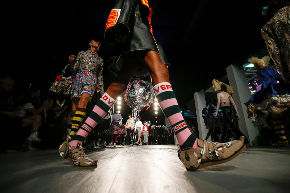 Stripes and clashing prints at the Charles Jeffrey Loverboy show