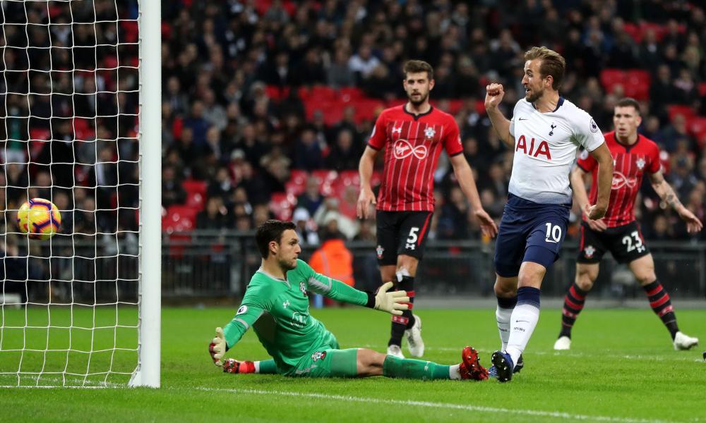 Harry Kane slots the ball past Southampton's Alex McCarthy.