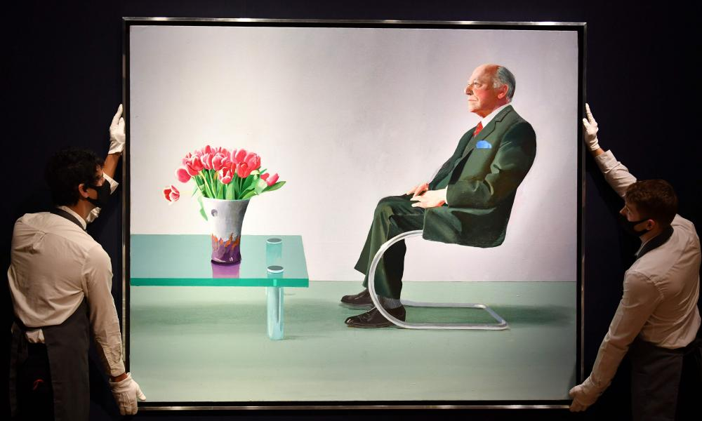 Portrait of Sir David Webster on show at Christie's auction house in London.