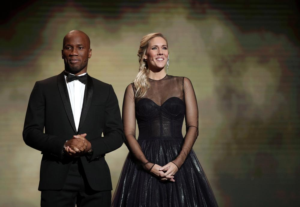 Hosts of the Ballon d'Or ceremony Didier Drogba and Sandy Heribert.