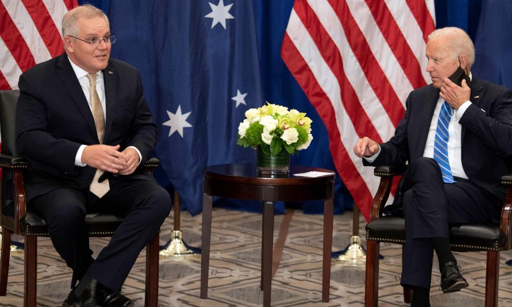 Australian prime minister Scott Morrison with US president Joe Biden
