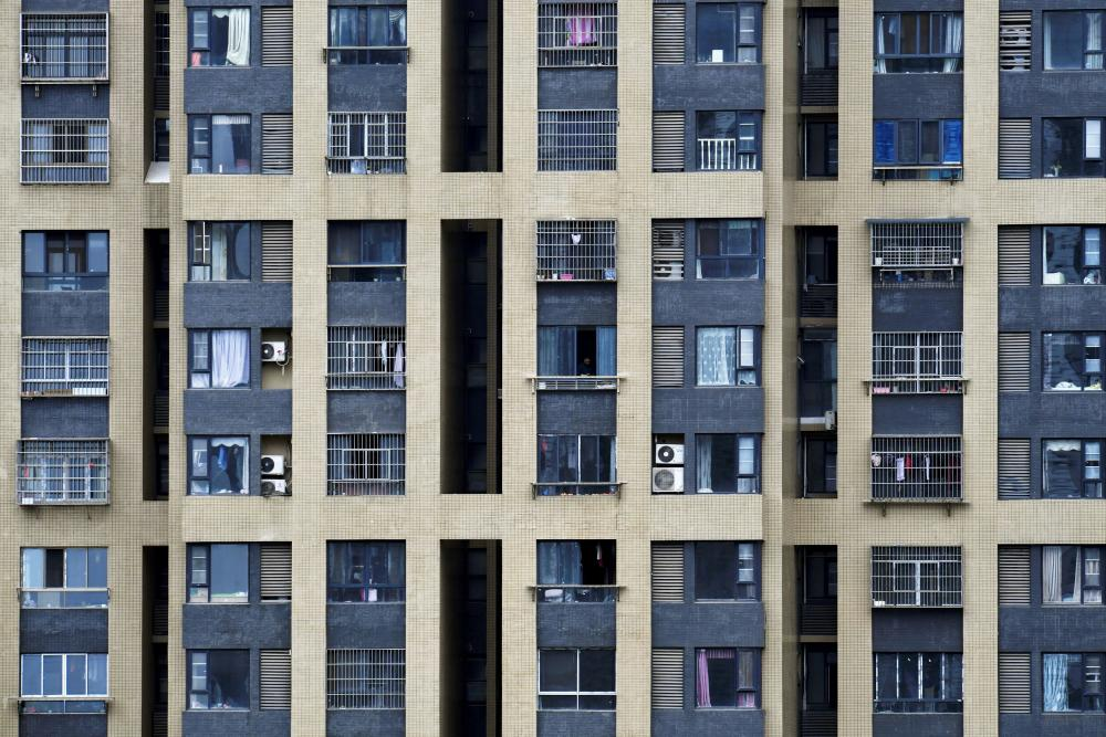 A residential building in Wuhan, China, during the lockdown there.