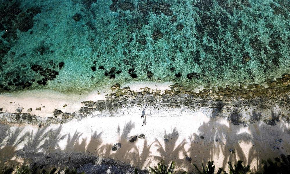 An aerial view of the Fiji's Coral Coast
