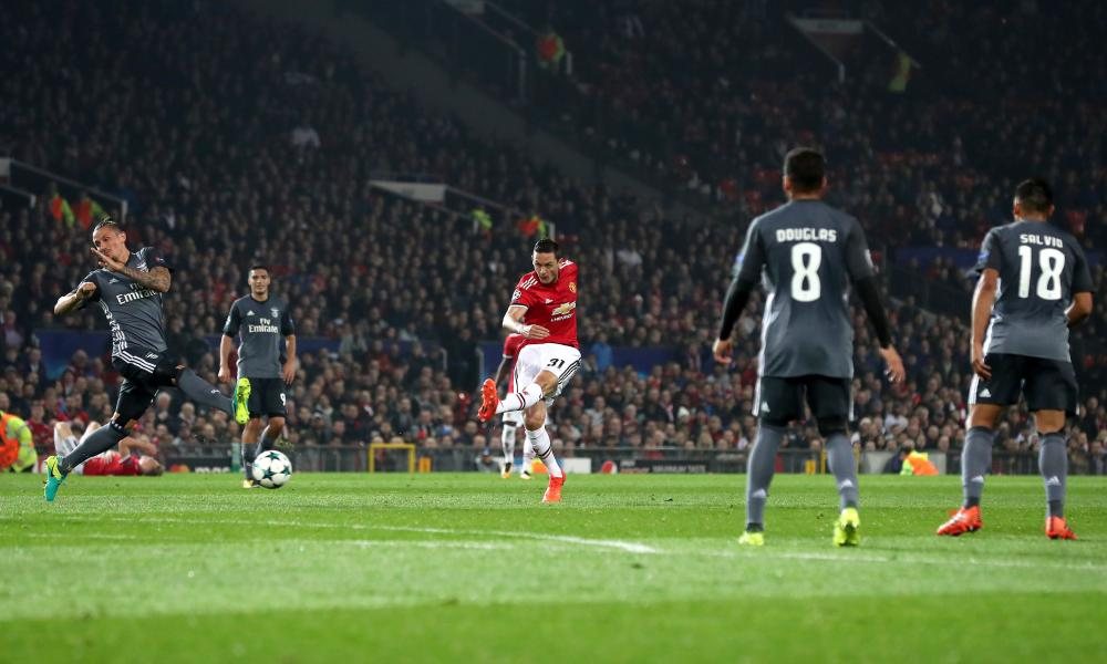 Nemanja Matic fires in the shot that results in the own goal by Mile Svilar.