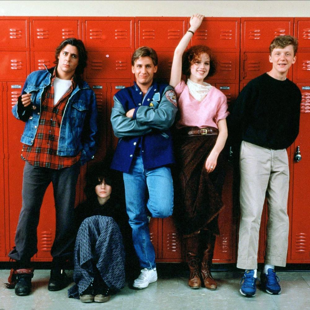 Judd Nelson, Ally Sheedy, Emilio Estevez, Molly Ringwald and Anthony Michael Hall in The Breakfast Club, 1985.