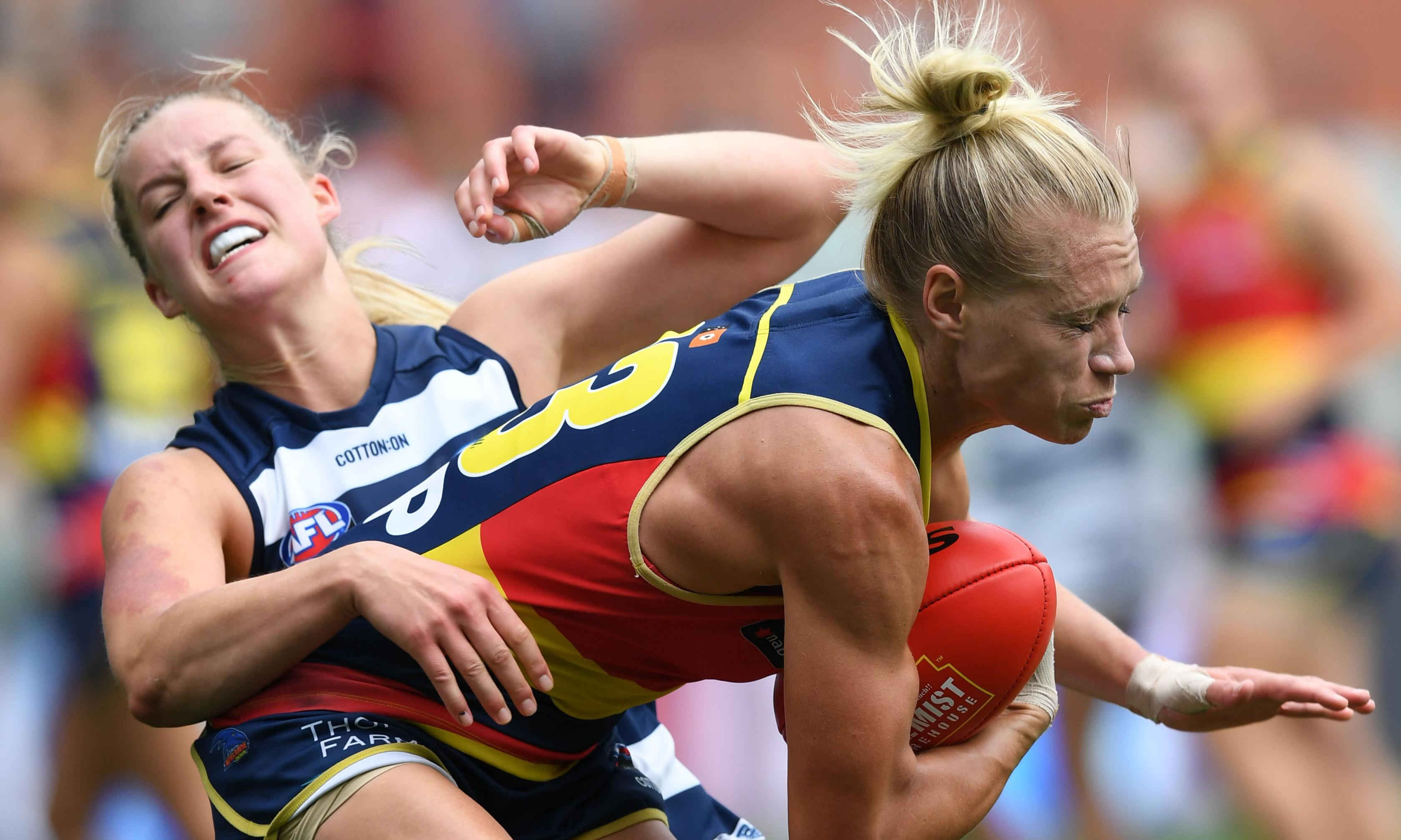 Adelaide AFLW flag 'favourites' after record-breaking Geelong mauling